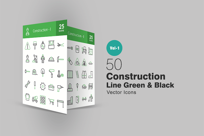 50 Construction Line Green & Black Icons