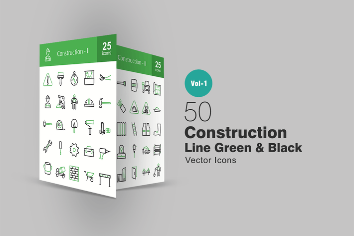 Thumbnail for 50 Construction Line Green & Black Icons