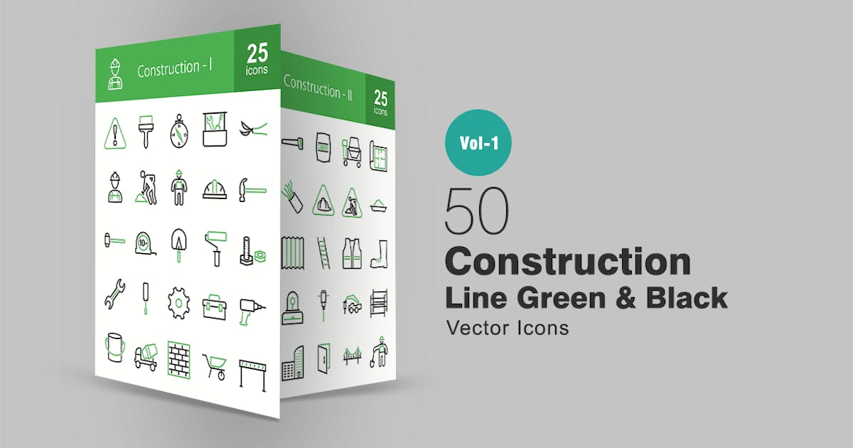 Download 50 Construction Line Green & Black Icons by IconBunny