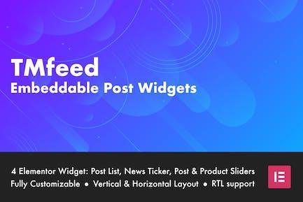 TMfeed - Embeddable Post Widgets For Elementor
