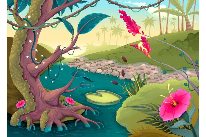 Thumbnail for View on the Forest with Colored Flowers and River