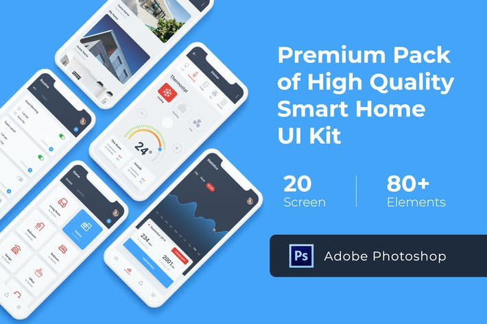 Thumbnail for Smart Home Mobile UI KIT for Photoshop