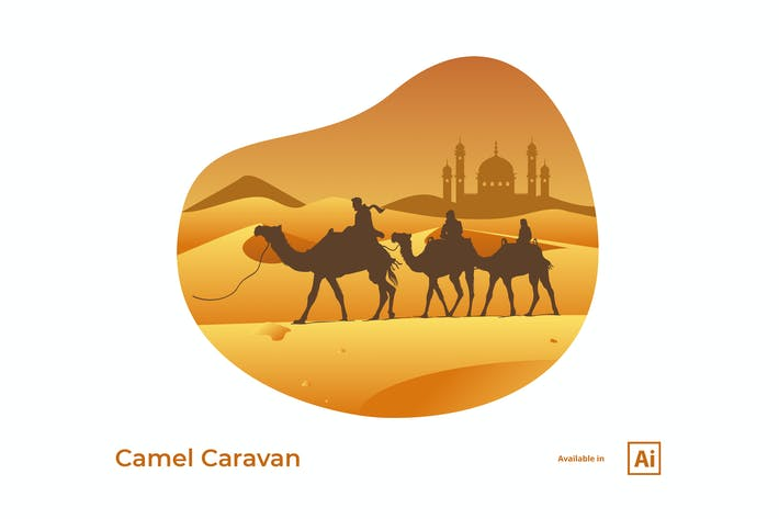 Thumbnail for Camel Caravan Illustration