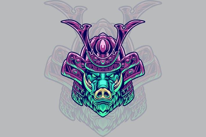 Wildschwein-Samurai-Kopf-Abbildung