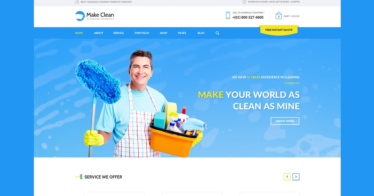 Download Make Clean - Cleaning Company HTML Template by WPmines