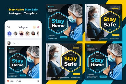 Stay Home Stay Safe Instagram Template