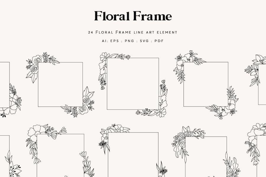 24 Floral Frame Line art element