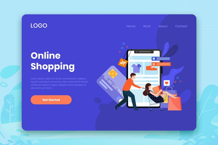 Cover Image For Online Shopping landing page template
