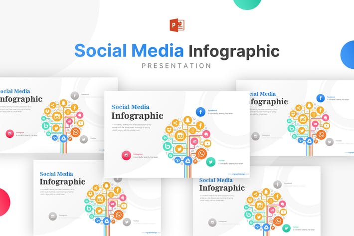 Social Media Icons and Three Options Infographic