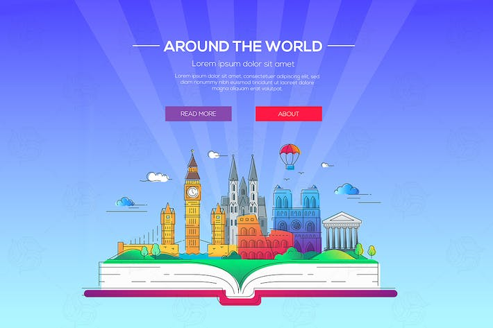Thumbnail for Around the world - vector line travel illustration