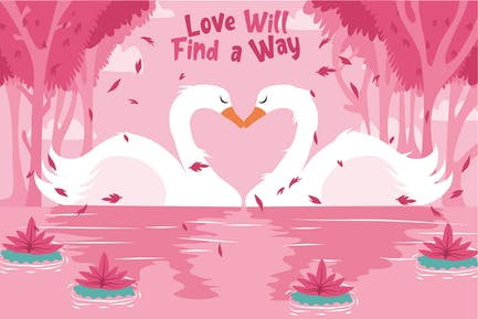 Swan Couple - Vector Illustration