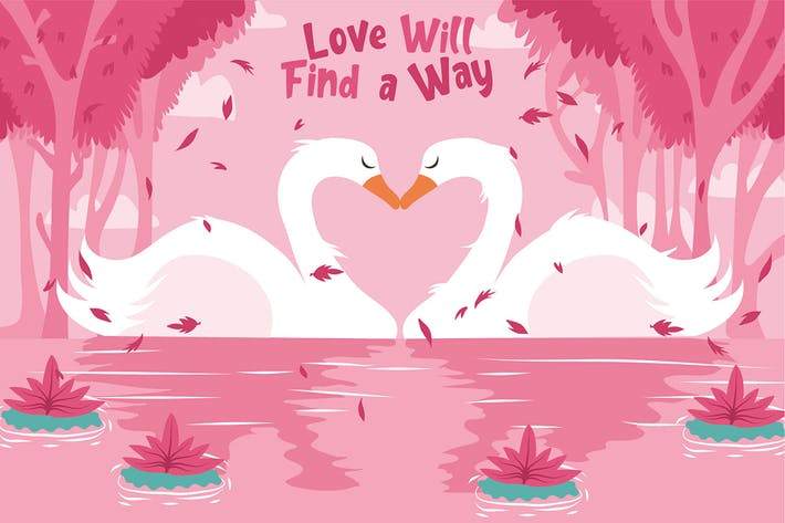 Thumbnail for Swan Couple - Vector Illustration