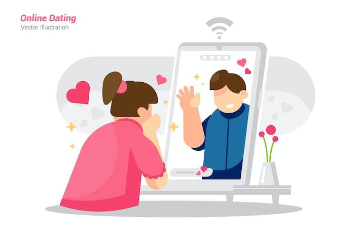 Online Dating - Vector Illustration