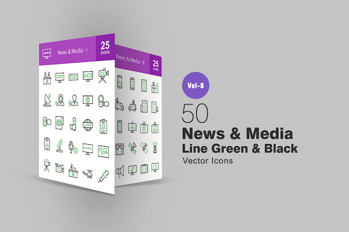 Thumbnail for 50 News & Media Green & Black Line Icons