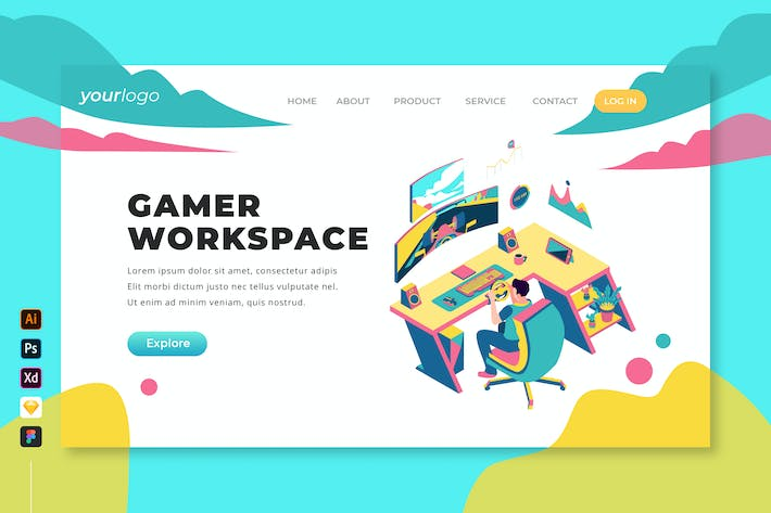Thumbnail for Gamer Workspace - Isometric Landing Page