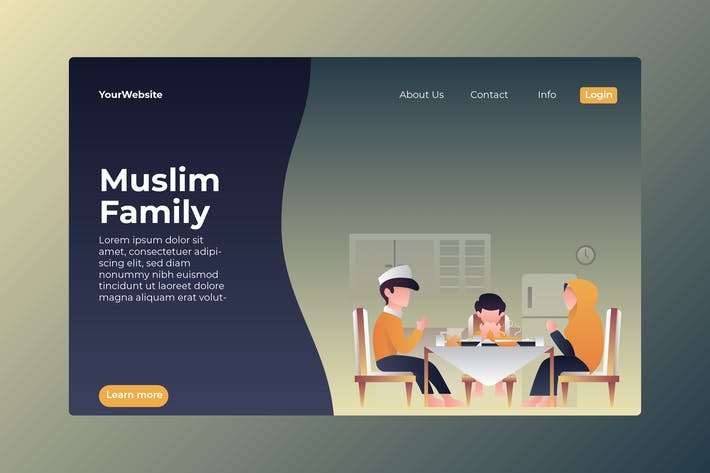 Thumbnail for Muslim Family Landing Page Illustration