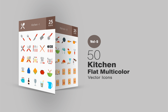 Cover Image For 50 Kitchen Flat Multicolor Icons