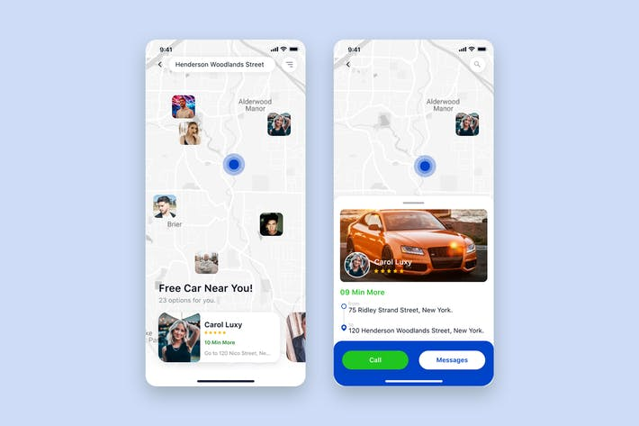 Thumbnail for Free Car Booking App mobile UI Concept