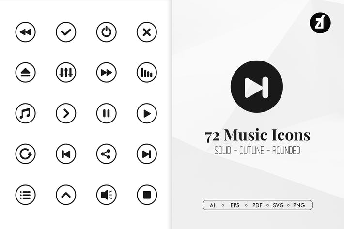 Thumbnail for 72 Music interface minimal icons