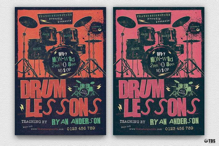 Thumbnail for Drum Lessons Flyer Template V2