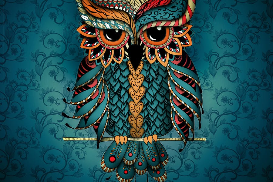 Owl in blue and orange colors