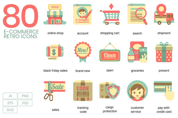 Thumbnail for E-Commerce Retro Flat Icons