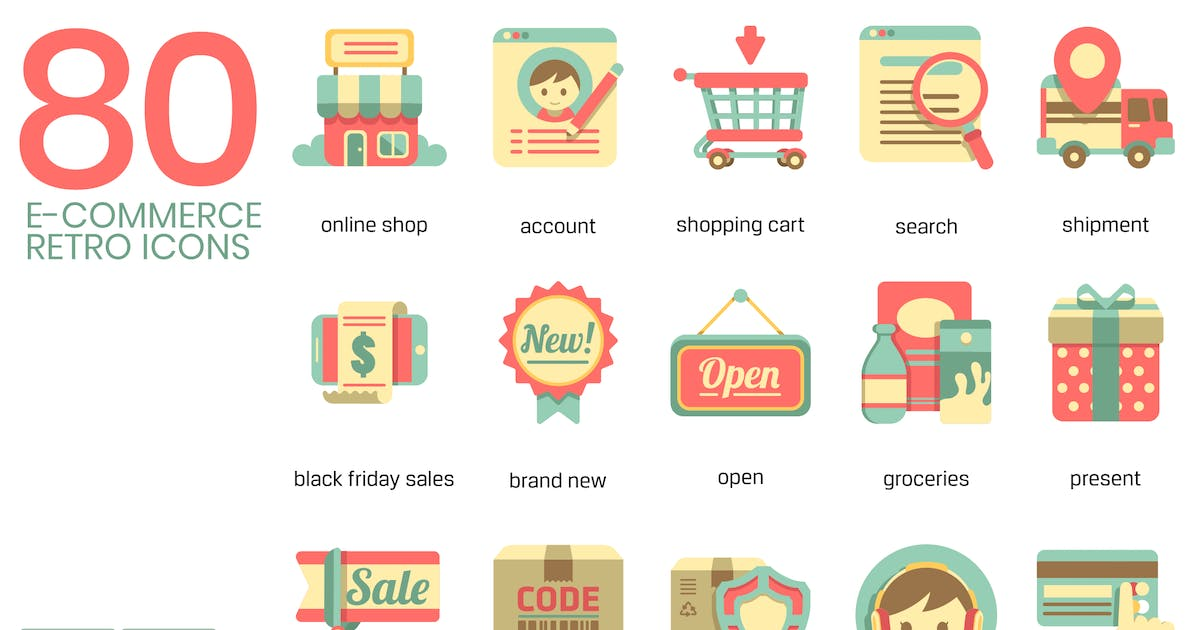 Download E-Commerce Retro Flat Icons by Krafted
