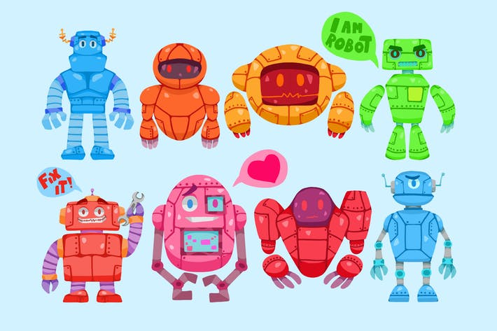 Thumbnail for Colorful Robots Clipart