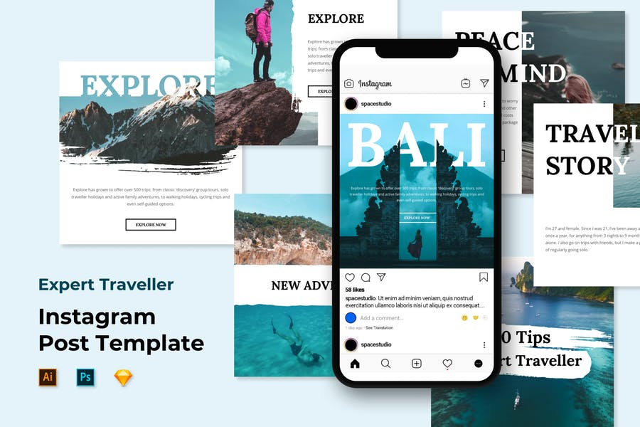 Travel Instagram Post Feed Templates - Brush Style