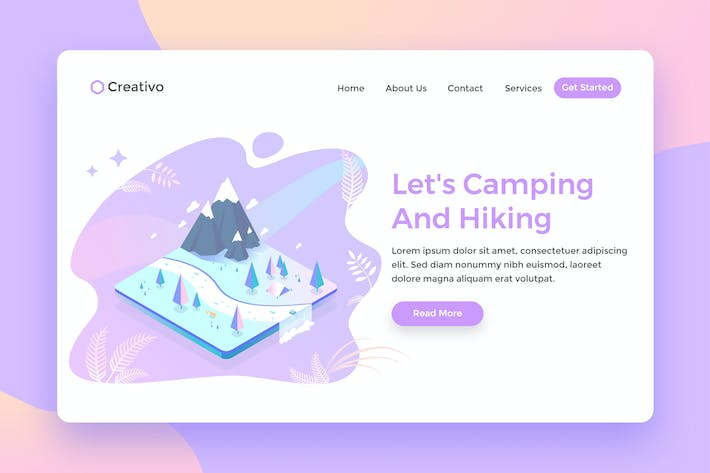 Thumbnail for Lets Camping Hiking, Nature explorer Landing Page