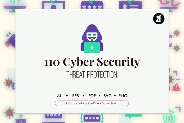 110 Cyber Security elements icon pack