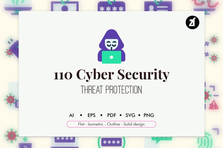 Thumbnail for 110 Cyber Security elements icon pack