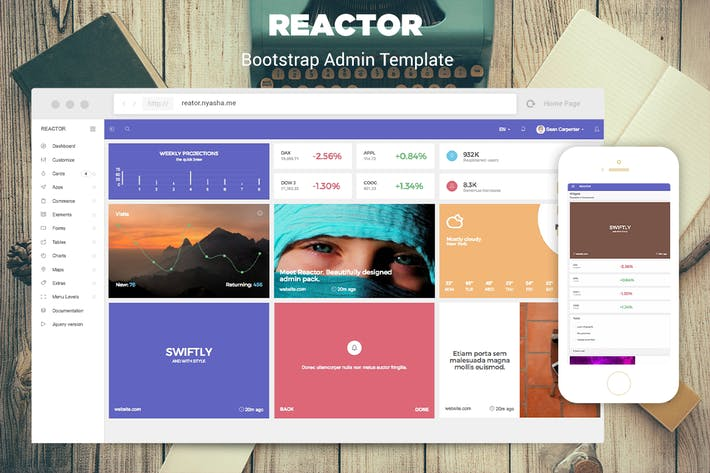 Thumbnail for Reactor - Bootstrap Admin Template