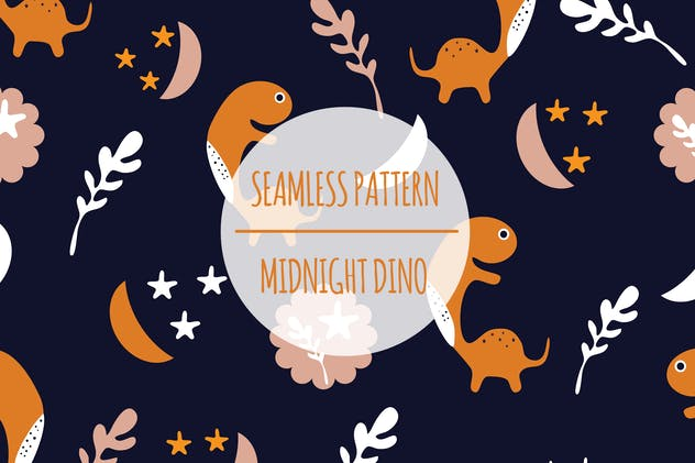Midnight Dino – Seamless Pattern