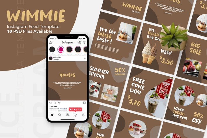 Thumbnail for Wimmie - Ice Cream  Instagram Post Template