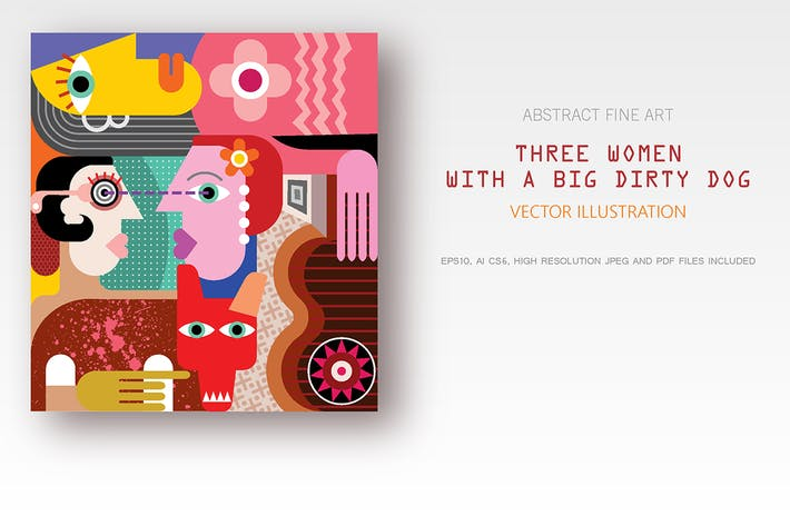 Thumbnail for Three Women with a Big Dirty Dog vector artwork