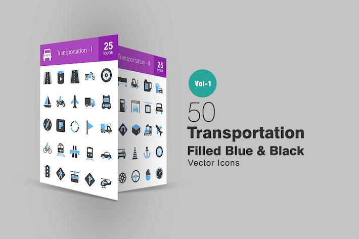 Thumbnail for 50 Transportation Blue & Black Icons