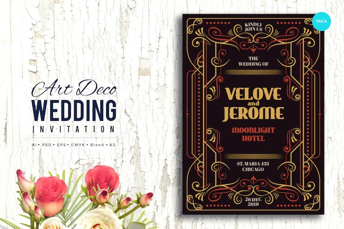 Thumbnail for Art Deco Wedding Invitation PSD And Vector Vol.4