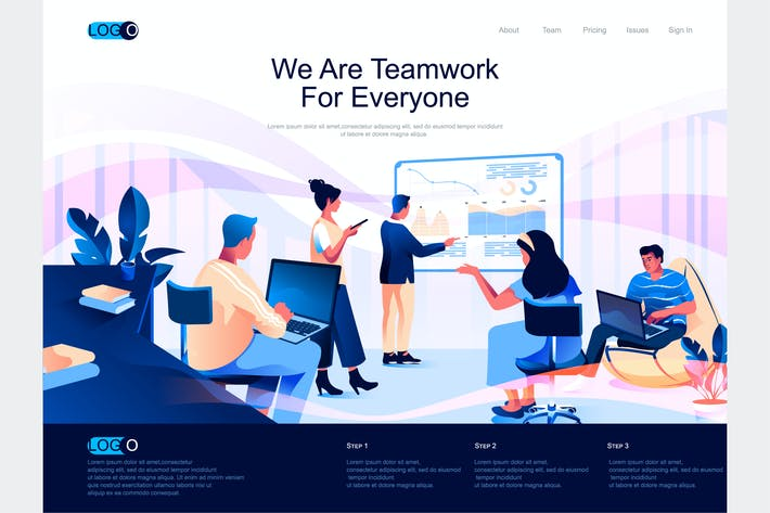Thumbnail for Teamwork Isometric Landing Page Template