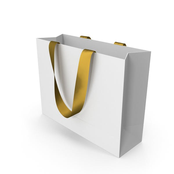 Thumbnail for White Packaging Bag with Gold Handles