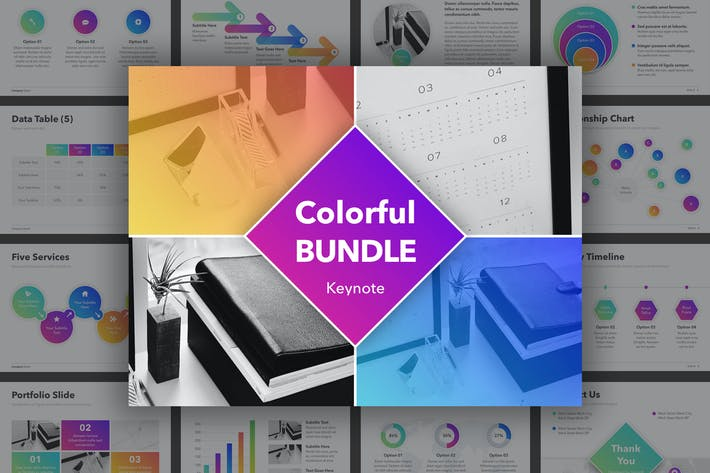 Thumbnail for Красочный Шаблон Keynote пакета