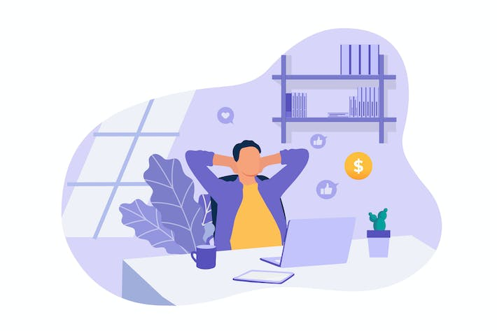 Thumbnail for Home Working - Vector Illustration