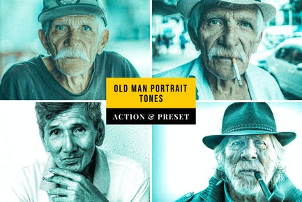 Old Man Portrait Tones Action & Lightroom Preset
