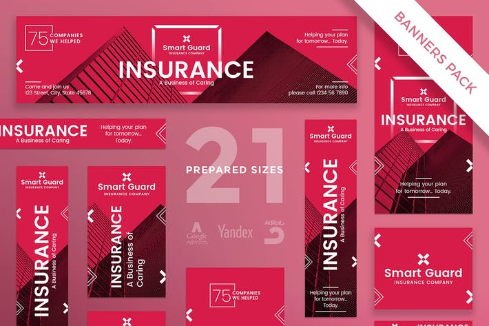 Cover Image For Insurance Company Banner Pack Template