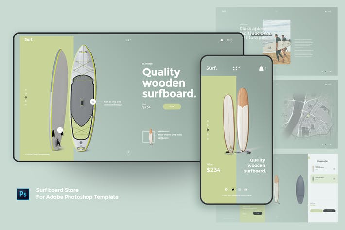 Thumbnail for Surf board Store For Adobe Photoshop Template
