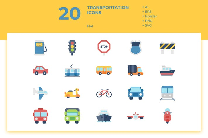 Thumbnail for 20 Transportation Icons (Flat)