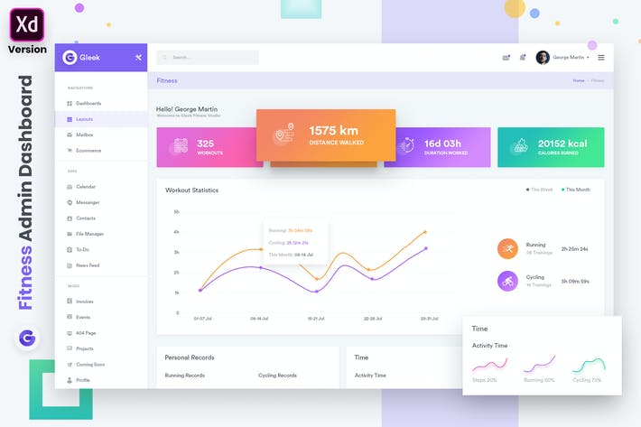 Thumbnail for Fitness Admin Dashboard UI Kit (XD)