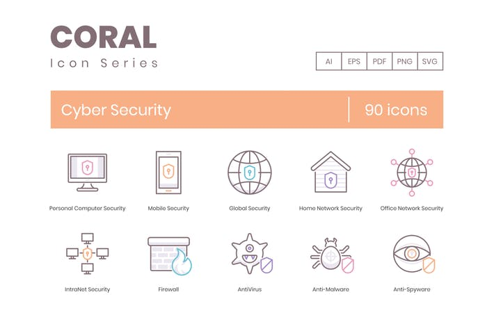 Thumbnail for 90 Cyber Security Line Icons