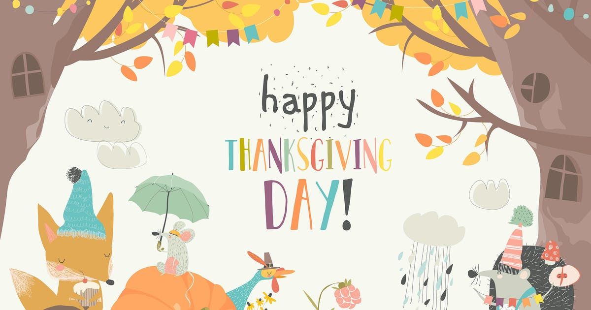 Download Cute animals celebrating Thanksgiving day. Vector by masastarus