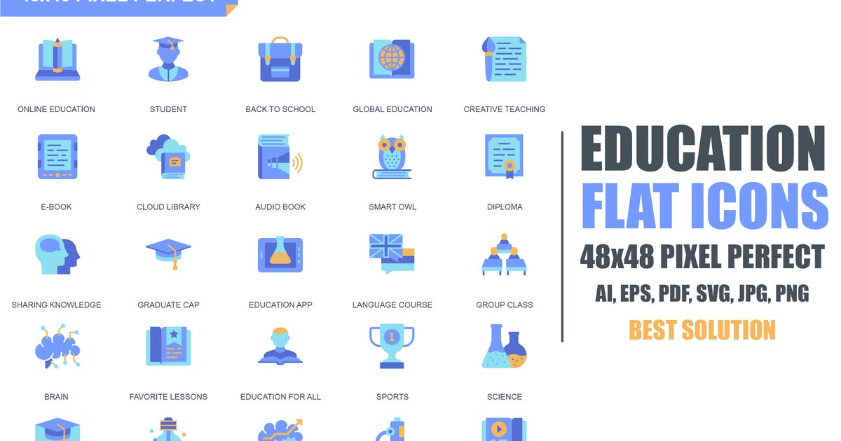 Simple Set Education and Knowledge Flat Icons by alexdndz